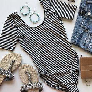 American Apparel | Black White Stripe Bodysuit | M